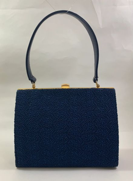 Vintage 1960s Blue Leather & Swiss Lace Handbag With Blue Rayon Lining..