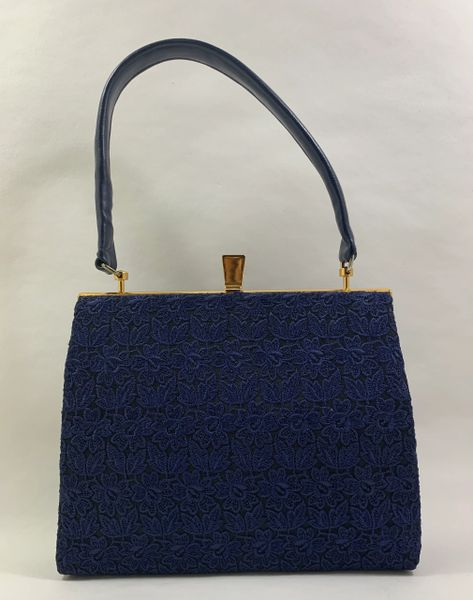 Vintage 1960s Blue Faux Leather & Swiss Lace Handbag With Blue Rayon Lining..