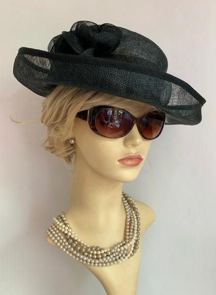 Black Sinamay Dress Hat Weddings Funeral Church Races With Flower Detail