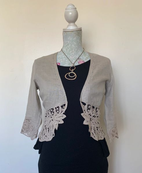 Beige Cotton Cropped Open Shirt Cardigan Lace Edging To Hem & Sleeves
