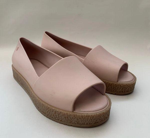 Melissa Nude Pink Jelly Rubber Slip On Open Toe Flats Size UK 7 EU 40.