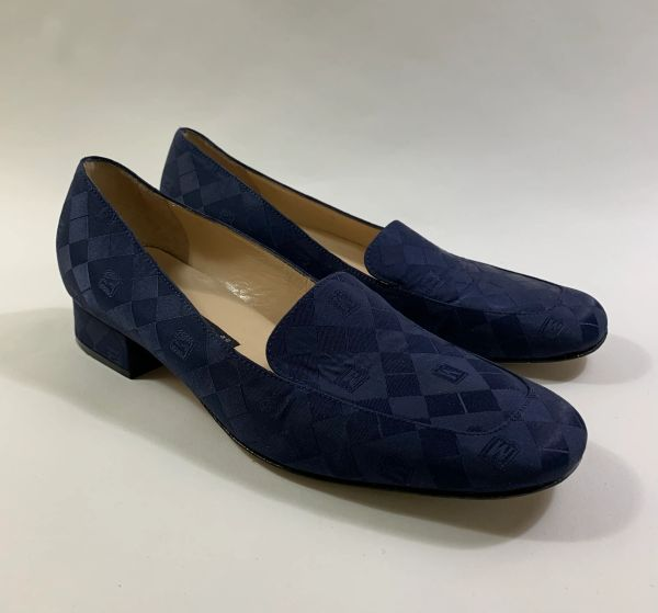 """Bruno Magli Blue Fabric And Leather Loafer Court Shoe Blue Leather 1"""" Heel UK 5"""