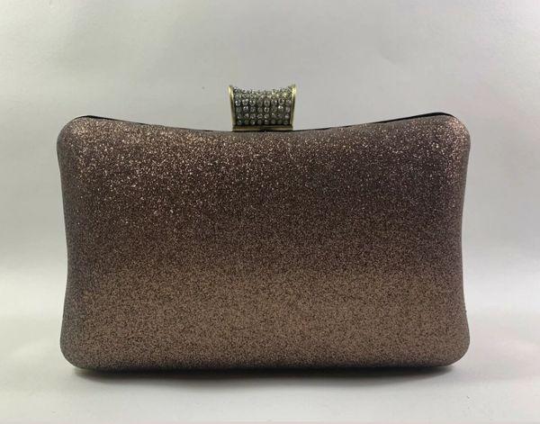Kate Landry Bronze Glitter Clutch Shoulder Bag Diamanté Clasp Removable Strap