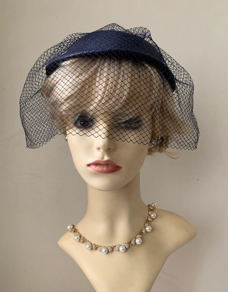 Blue Vintage 1950s Sinamay Pillbox Capulet Hat With Wide Face Veil,