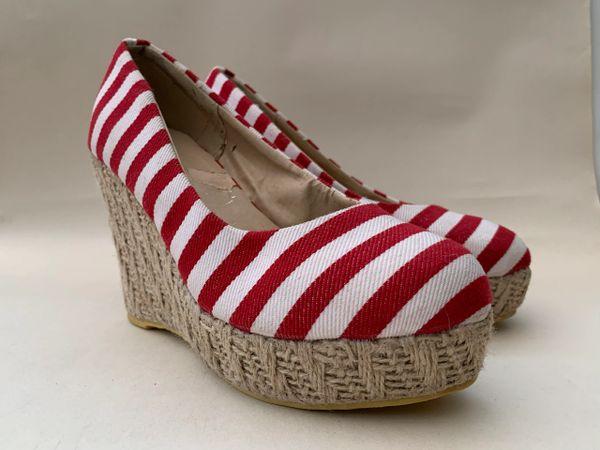 Coco Pop Wedge Inspired Red & White Striped Wedge Heel Platform Canvas Round Toe Shoe Espadrilles Size UK 4 EU 37