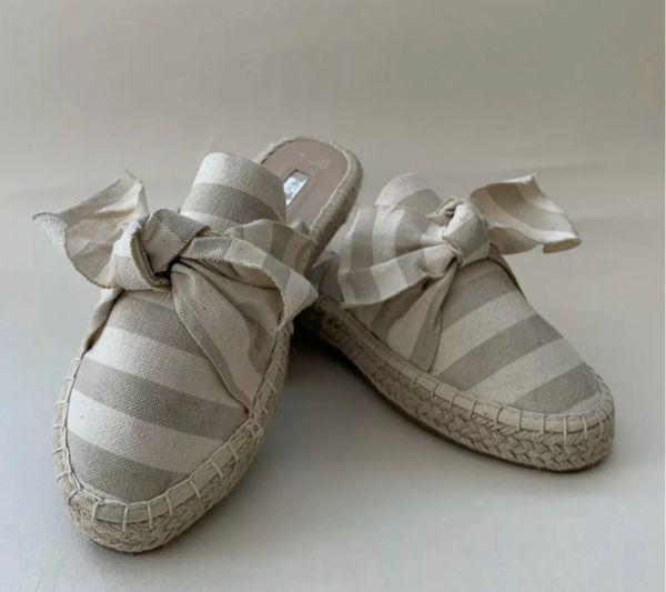 Stripe Bow Fabric Mule Espadrilles From Primark Size UK 5 EU 38