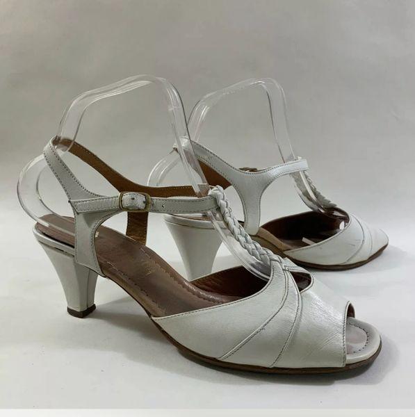 Algarve Vintage 1970s White Leather 3 Inch Heel Open Toe Slingback Sandals Size UK 7 EU 40