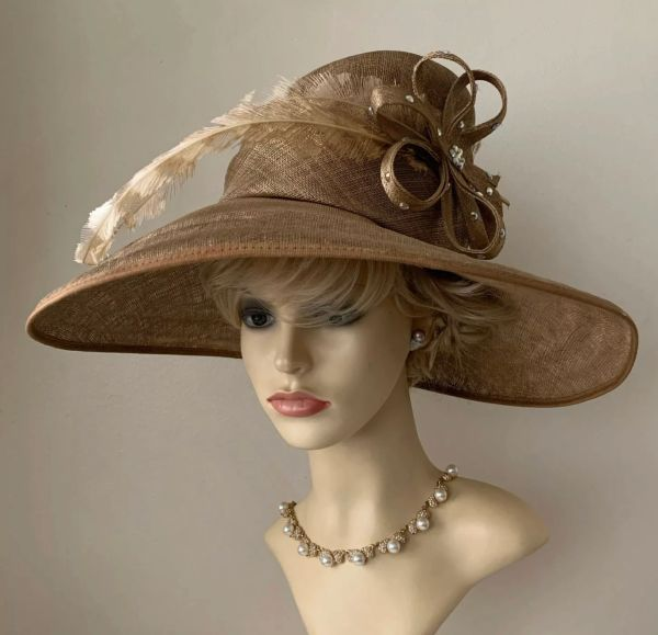 The London Designer Collection Formal Antique Gold Sinamay Hat Wedding Church