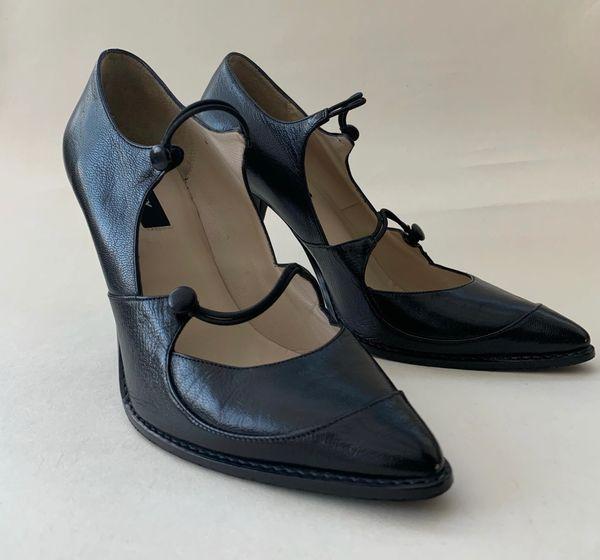 DKNY Black All Leathear Double Strap Mary Jane 4 Inch Stiletto Heel Size UK 6.5. EU 39.5 US 8.5