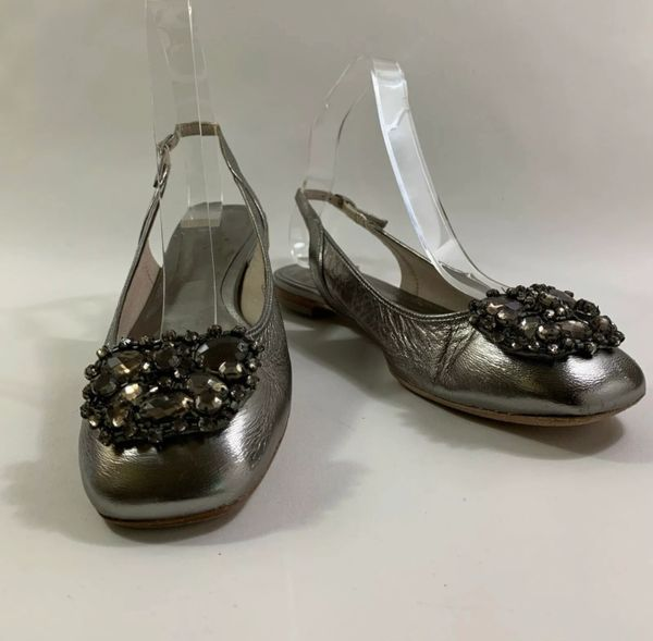 Boden Silver Leather Dolly Ballet Flat Slingback Diamanté Brooch Shoe Size UK 4 EU 37.
