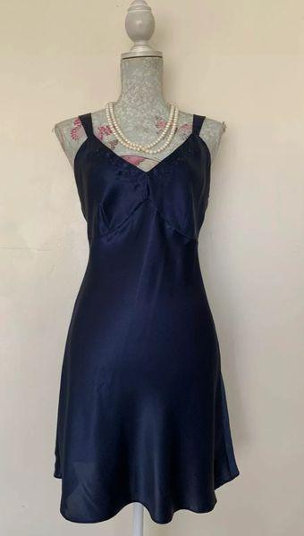 BHS Vintage Lingerie Vintage 1950s Blue Polyester Satin Full Slip Size UK 12 EU 40. Bust 36