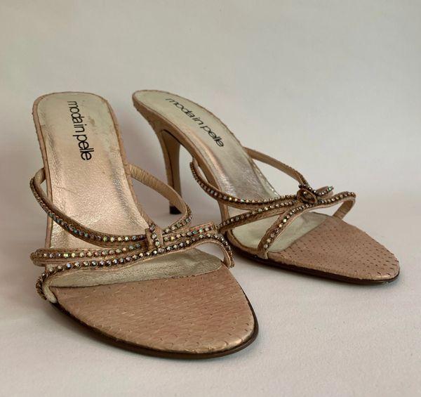 Moda In Pelle Metallic Nude Leather Diamanté Open Strappy Mules Stiletto Sandal Shoe UK Size 5 EU 38