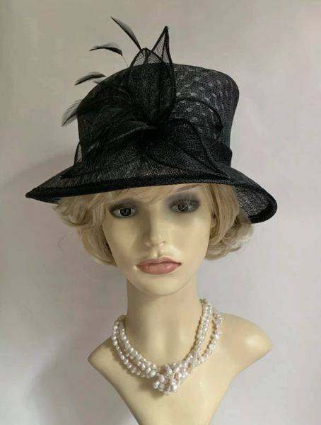 BHS British Home Stores Black Unlined Straw Hat Feather Flash Sinamay Ribbon & Flower Detail