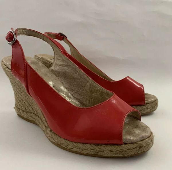 Davina Zontary Slingback Peeptoe Wedge Heel Patent Leather Sandal Espadrilles Size UK 3 EU 36