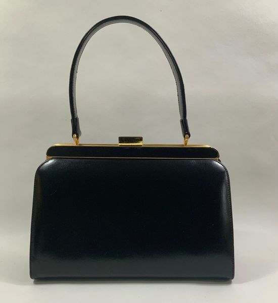 Spearo Vintage 1950s Black Leather Top Handle Handbag With Buff Suede Lining