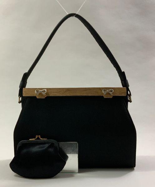After Five Black Fabric 1950s Vintage Handbag Black Satin Lining Purse And Mirror.