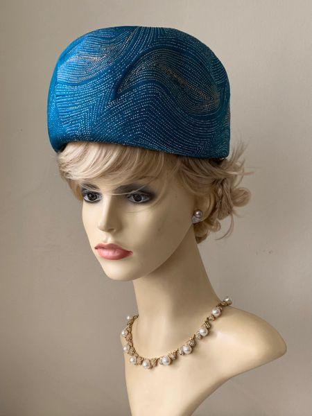 Derry Toms Vintage 1960s Teal Blue Metallic Turban Hat & Original Box.