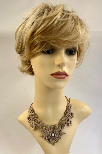 "Floral Zinc Gold Toned Variated Flower Diamanté Necklace Lobster Claw Clasp 26"""