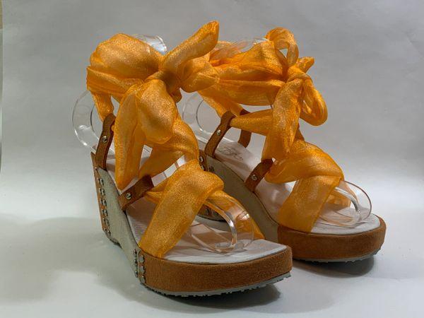 Frutta Orange And Ivory Studded Suede Strappy Ribbon Sandals 3.5 Inch Wedge Heel 1 inch platform UK 4 EU 37.