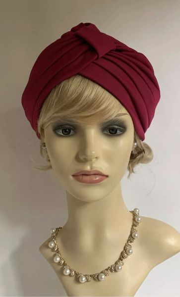 Vintage Retro 1950s Style Cherry Claret Turban Chemo Unlined 22 Inches Stretchy