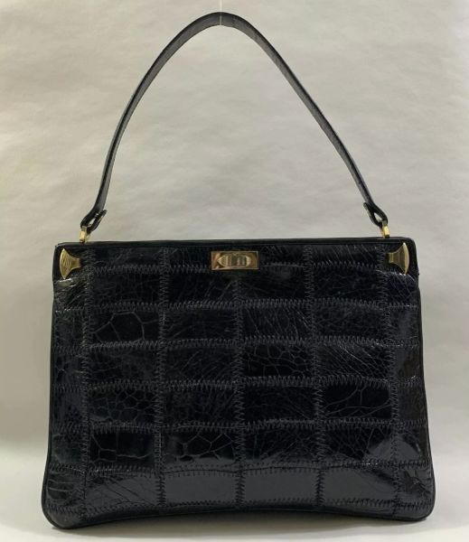 Vintage 1960s Large Patchwork Black Mixed Leather Handbag With Black Fabric Lining