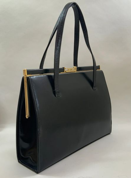 Vintage 1950s Black Large Leather Handbag With Buff Suede Lining & Elbief Frame