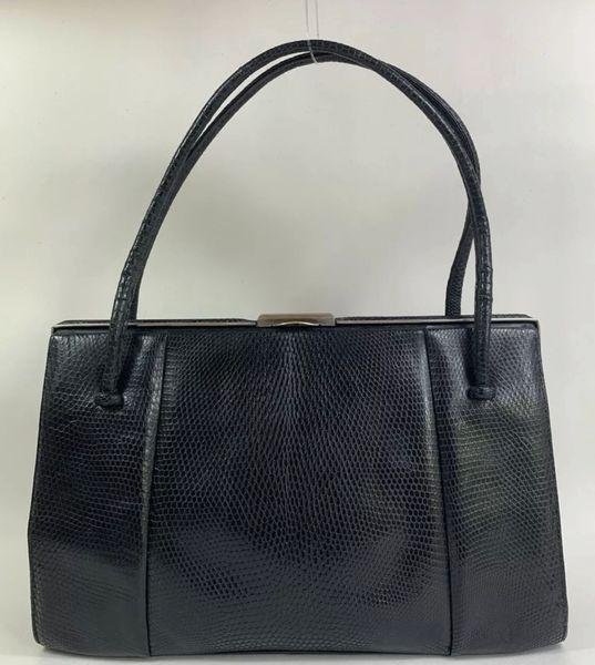 Waldybag Black Vintage 1950s Lizard Embossed Leather Handbag Buff Suede Lining