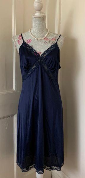 St Michael Vintage 1980s Dark Blue Nylon Full Length Slip Length 41 Inch Size UK 16 Bust 38