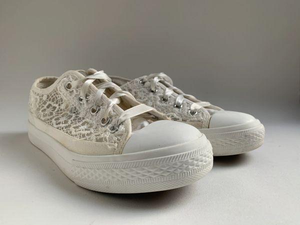 Miss Sixty White Lace Girls Baseball Boots Size UK 2 EU 34 US 2.5.