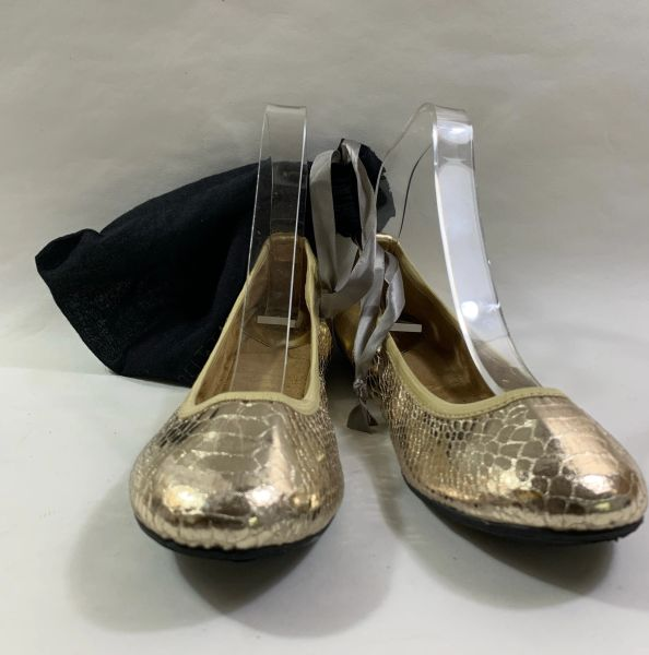Butterfly Twists Vivienne Fold Away Ballerina Gold Shoes And Travel Bag Size UK 4. EU 37