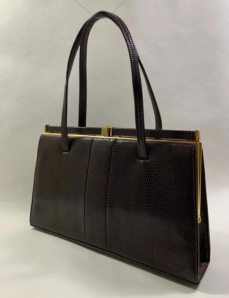 Marquessa Lizard Skin Vintage 1950s Dark Brown Handbag With Buff Suede Lining