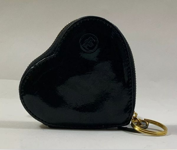River Island Heart Shaped Black Faux Patent Zipped Coin Purse With Keyring and Heart Tab.