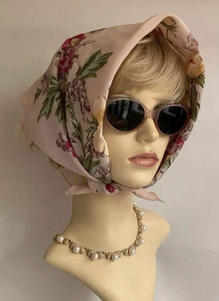 Vintage 1960s Head Scarf Pink Floral Rose Pattern Polyester 24' Stitched Hem
