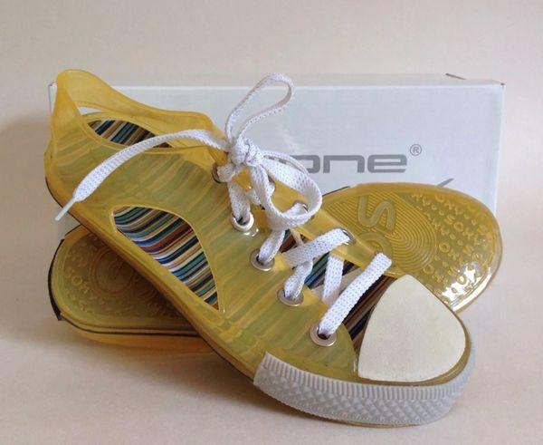 Cyclone Yellow Women's Girls Low Top Jelly Rockabilly Rubber Baseball Shoes With Original Box.UK 3 EU 36
