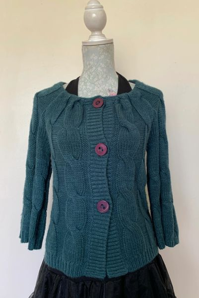 Tu Teal Blue Green Light Weight Angora Mix Cable Knit Cardigan Size UK 10 With Tags And Spare Button