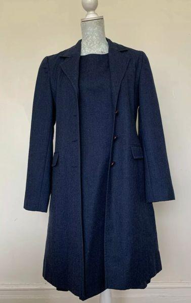 OCEAN Vintage Mid Blue 100% Wool Coat + Dress Suit Fully Lined Size UK 10.