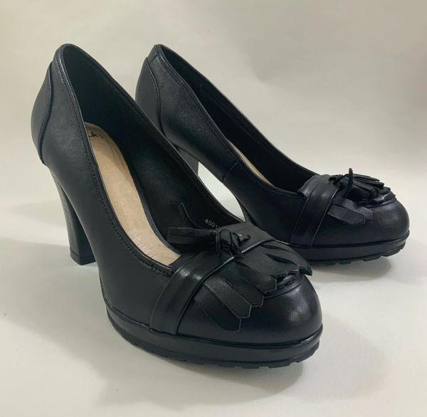 """Clarks Black 3.75"""" Chunky High Heel Loafer With Platform Fringe And Tassel"""