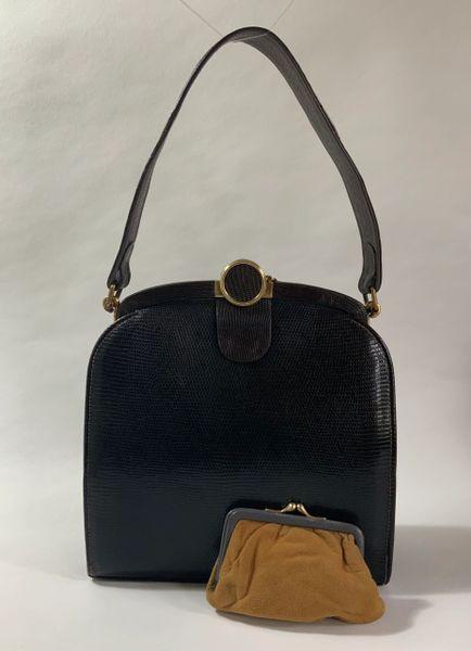 Jane Shilton Vintage 1940s Dark Brown Lizard Skin Handbag And Coin Dark Buff Suede Lining Purse.