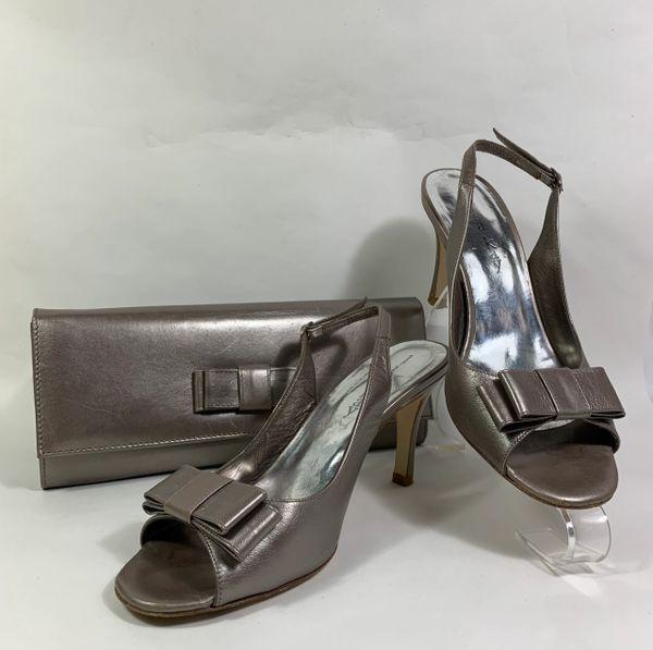 """LISA KAY Matching Set Shoe & Handbag Zinc Leather Slingback 3.5"""" Stiletto UK 5"""