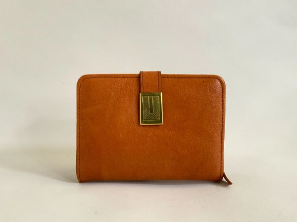 Vintage 1950s Tan Textured Leather Coin Purse Mini Wallet Tan Leather Lining And Identification Card
