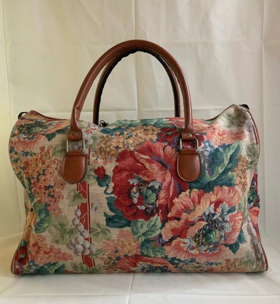 St Michael Vintage 1980s Floral Canvas Travel Case Weekend Bag Luggage Carpet Bag