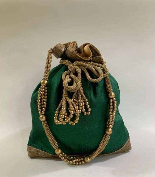 Vintage Green And Gold Satin And Silk Handmade Drawstring Reticule Evening Handbag With Beaded Handle And Sequin Trim