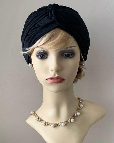 Vintage Retro 1940s Style Black Stretchy Turban Chemo 22 Inches.