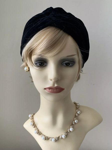 Vintage Inspired 1940s Style Black Stretchy Velour Turban Chemo 22 Inches