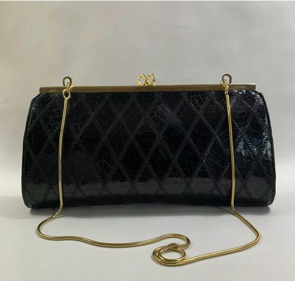 Vintage 1970s Black Diamond Patchwork Snake Skin Clutch Bag Convertible Shoulder Bag With Chain Strap