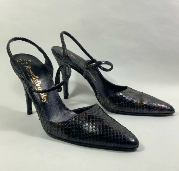 Russell & Bromley Black Metallic Snakeskin Slingback Stiletto Shoe UK 3 EU 35.5