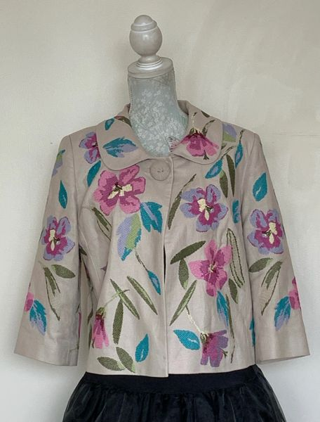 Marks And Spencer Autograph Ivory Floral Embroidered Cropped Lined Jacket Size UK 14.