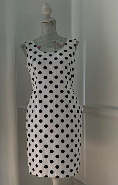 BHS British Home Stores Elegant Fitted White & Black Polka Dot Cotton Fitted Knee Length Dress Size UK 12