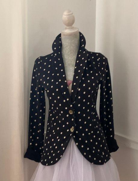 Papaya Black & White Spotted Polka Dot Unlined Single Breasted Jacket UK Size 10