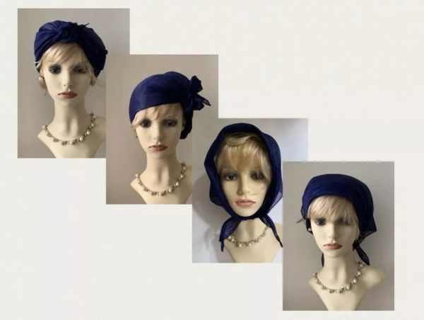 1950s Vintage Inspired Blue Satin Triangle Head Wrap Keep Hair In Place.